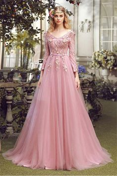 Long sleeve prom dresses, pink long sleeve prom dresses, long prom dresses, prom dresses lace short train v-neck sexy prom dress/evening dress Pink Party Dresses, V Neck Prom Dresses, A Line Prom Dresses, Lace Evening Dresses, Evening Gowns, Cheap Dresses, Pink Gowns, Ivory Dresses, Sleeve Dresses
