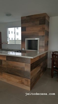 BBQ-revestido con porcelana, madera - Itagres Kitchen Interior, Interior Design Living Room, Outdoor Fireplace Designs, Backyard Kitchen, Bbq Grill, Modern Interior Design, Home Decor Inspiration, Sweet Home, New Homes