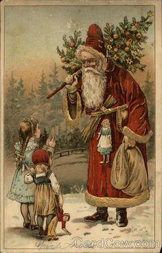 VintVintage Christmas Card Santa 549