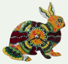 Ceramic Bunny Clock by DancingColorCeramics on Etsy, $45.00