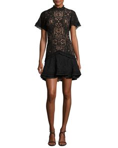 Jonathan Simkhai Tower Mesh Lace Ruffle Minidress In Black Lace Ruffle, Lace Dress, Jonathan Simkhai, Luxury Fashion, Womens Fashion, Our Girl, Dress Outfits, Clothes For Women, Formal Dresses