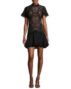 Jonathan Simkhai Tower Mesh Lace Ruffle Minidress In Black Lace Ruffle, Lace Dress, Jonathan Simkhai, Luxury Fashion, Womens Fashion, Dress Outfits, Clothes For Women, Formal Dresses, Model