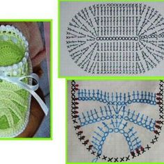 Crocheted baby sandals photo and graph Booties Crochet, Crochet Baby Sandals, Crochet Baby Clothes, Crochet Shoes, Crochet Slippers, Baby Booties, Crochet Chart, Crochet Stitches, Knit Crochet