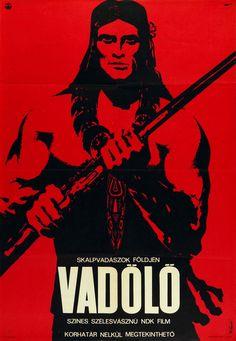 A vadölő (1967) Chingachgook, die grosse Schlange Hungarian vintage movie poster. Artist by Bánki László