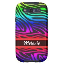 Customizable, unique, fashionable, trendy and pretty Samsung Galaxy S3 case. With image of beautiful pink, violet, purple, red, blue, green and turquoise rainbow colored zebra animal skin pattern print design, and space for your name or initials. Cute, stylish and fun present for mom's birthday, Mother's day, Christmas gift, the girly girl, or those who want an artsy, classy, chic and cool phone cover. Also available for iPhone 3, 4 and 5, Samsung Galaxy S2, iPod Touch, and Motorola Droid…