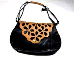 BOOTS & BAGS COLOMBIA BROWN BLACK 100% LEATHER  HANDBAG  PURSE  #BootsNBags #ShoulderBag