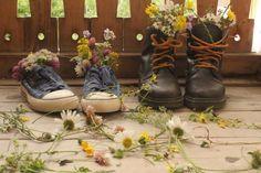 the aftermath after a floral arrangement session