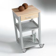 carrello da cucina 47x47xh87 cm con cassetto due ripiani top di faggio naturale e struttura in acciaio color alluminio maitre pezzani srl
