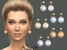 The Sims Resource: Faux pearl earrings by NataliS • Sims 4 Downloads