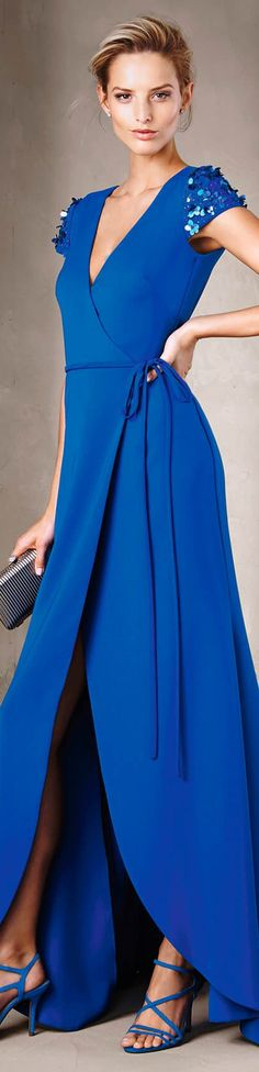 blue dress women fashion outfit clothing style apparel @roressclothes closet ideas Pronovias 2017