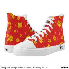 Sunny Red Orange Yellow Flowers Zizzago Printed Shoes