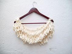 Hand crochet Long Scarf Mulberry Scarf Cream Pompom by scarfnurlu Neck Accessories, Winter Accessories, Crochet Accessories, Pompom Scarf, Long Scarf, Neck Warmer, Hand Crochet, Womens Scarves