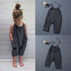 Kids Baby Girls Strappy Romper Jumpsuit Bodysuit Playsuit Clothes Outfits Set