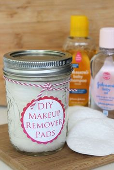 Homemade Make Up Remover Pads -- this is a great idea for the girlfriends! Or myself! ;)