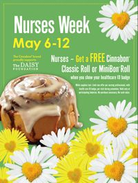 FREE Cinnabon Classic Roll or Minibon Roll For Nurses (Through 5/12) - http://freebiefresh.com/free-cinnabon-classic-roll-or-minibon-roll-for-nurses-through-512/