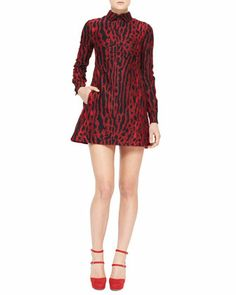 Ocelot-Print Collared Long-Sleeve Dress, Red by Valentino at Neiman Marcus.