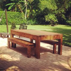 """Rustic Indoor/Outdoor Dining Table // 4x6"""" Legs // 6"""" Frame // Includes Benches // Home Decor // Rustic Table"""