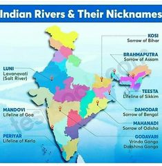 Rivers of India, Rivers in India , Ganga, Indus, Brahmaputra Geography Worksheets, Geography Map, Social Studies Worksheets, Geography Lessons, India World Map, India Map, General Knowledge Book, Gernal Knowledge, Indian River Map