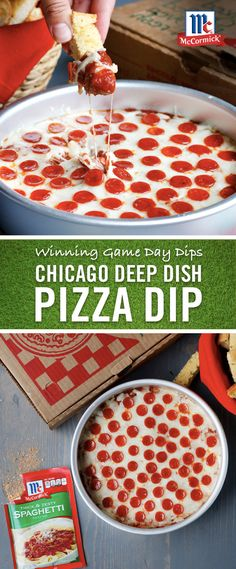Try a twist on the Chicago class with this easy deep-dish dip recipe! Mix your favorite pizza toppings and McCormick Thick & Zesty Spaghetti Sauce Mix for a football party appetizer that was made for game day. Serve with sliced garlic bread or toasted baguette and soak up every drop. That's how you play to win.