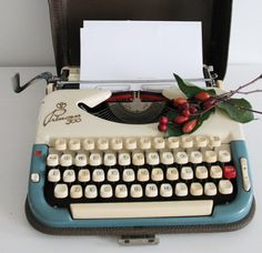 Princess 300 blue cream retro working typewriter with by Cottoni