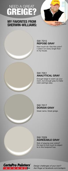 *Repose Gray or Agreeable Grey - DF Looking for the right greige paint for your home? Designer Roger Hazard shares his most popular gray / beige hybrid paint colors from Sherwin-Williams. Interior Paint Colors, Paint Colors For Home, House Colors, Paint Colours, Interior Design, Interior Painting, Paint Colors For Living Room Popular, Paint Colors For Basement, Modern Interior