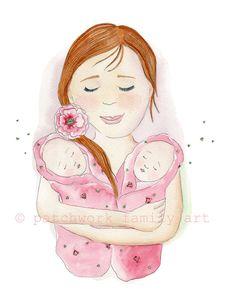 Twins illustration Print  Double Blessing 8x10 inch Motherhood Art