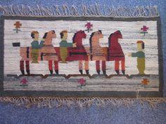 "Wall hanging / tapestry Kilim Pilsko Polish design by J. Boruch ""Zabawka"" hand woven in wool 1950s. von Designclassics24 auf Etsy"