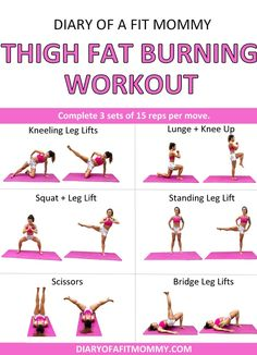 How I Lost My Thigh Fat + Thigh Fat Burning Workout – Diary of a Fit Mommy yoga fitnees – Top healthy fitness Cardio Training, Strength Training Workouts, Fitness Workouts, Workout Exercises, Barre Workouts, Fitness Goals, Yoga Fitness, Fitness Logo, Fitness Style