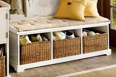 Simple Entryway Bench with Storage - http://hall.durtynellyscville.com/simple-entryway-bench-with-storage/ : #HallwayBench One way to add storage and hide the clutter in an entry is to build a simple entryway bench with storage in home. If you do not have any lobby, but directly enter the house through the kitchen or living room, you can to build a shallow closet for storage on either side of your front door. You...