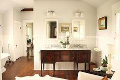 vintage buffet vanity, and fine art.  benjamin moore horizon