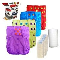 Wish | 8 Fours-Layers Bamboo Inserts and 1 Diaper Bag and 1 roll of Flushable viscose Nappy liners and 4 Baby Pocket Cloth Diapers (Size: One Size, Color: Multicolor)