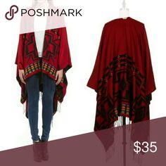 Aztec print poncho Aztec jacquard poncho in beautiful vibrant colors.  100% acrylic.  OSFM Fashionomics Sweaters Shrugs & Ponchos