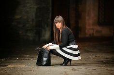 Stradivarius Zara Group 2013 Black and White Neoprene Skirt