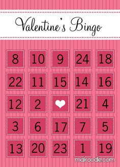 FREE Printable Valentine's Day Bingo Cards