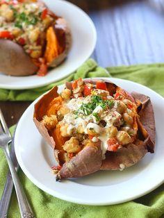 Falafel Spiced Skillet Chickpea Stuffed Sweet Potatoes