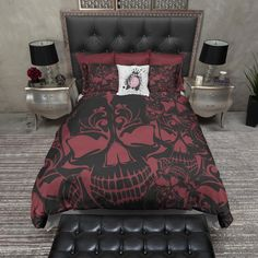 Skull bedroom decor: red and black collage skull bedding.