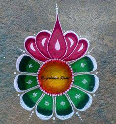 The color combination is too good. Easy Rangoli Designs Diwali, Rangoli Designs Latest, Simple Rangoli Designs Images, Rangoli Designs Flower, Free Hand Rangoli Design, Rangoli Border Designs, Small Rangoli Design, Rangoli Patterns, Rangoli Ideas