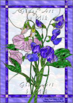 "Stained Glass Art by Nik ""Sweet Peas"" Digital Stained Glass Art-Stained Glass-Glass Art - Glass Art by Nik"