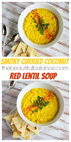 Smoky Curried Coconut Red Lentil Soup - creamy lentils are simmered in a spiced coconut curry broth and served with homemade greek style pita bread. This soup is low calorie, dairy free, vegan, 10 grams of protein per serving, and so filling! Coconut Lentil Soup, Red Lentil Soup, Coconut Curry, Vegan Soups, Vegetarian Meals, Vegan Food, Food Food, Coconut Recipes, Vegan Recipes