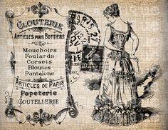 Antique Paris FrenchCorset Label Script Ornate Illustration Digital Download for…