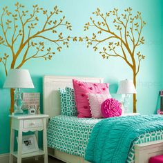 Crib Canopy Tree wall decals will liven up your baby's crib! They say you shouldn't use a crib bumper and toys are definitely not allowed for a baby safe environment. Why not decorate around the crib Teen Room Designs, Girl Bedroom Designs, Bedroom Ideas, Teenager Zimmer Design, Bedroom Turquoise, Turquoise Cottage, Nursery Wall Stickers, Teen Girl Bedrooms, Colorful Teen Bedrooms