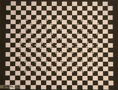 Dots on a checkerboard optical illusion