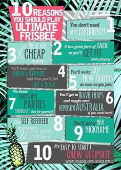 #runit 10 reasons why you should play ultimate frisbee #crewultimate