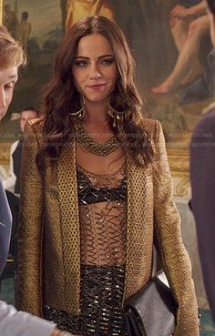 Princess Eleanor's mesh top and gold jacket on The Royals. Outfit Details: http://wornontv.net/48164/ #TheRoyals