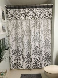 Here is the finished shower curtain and valance. I couldn't find much on line about this so I thought I would share. It is SO easy and I think the height makes…