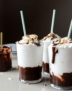 boozy coconut hot fudge milkshakes