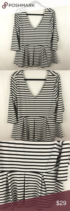 624fd746ae Victoria s Secret White Black Striped V-Neck Top Victoria s Secret White  Black Striped V-