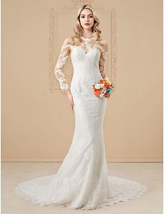 Mermaid / Trumpet Illusion Neckline Cathedral Train Lace Satin Wedding Dress with Appliques Buttons by LAN TING BRIDE®
