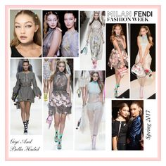 """""""Gigi And Bella Hadid Fendi Spring 2017 Ready-to-Wear Milan Fashion Week 2016 September 2016"""" by valenlss ❤ liked on Polyvore featuring Fendi"""