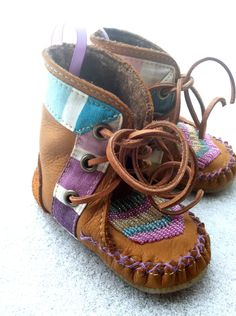 Children's handmade leather beaded wool-lined moccasins with shearling insole and crepe rubber sole. @ etsy